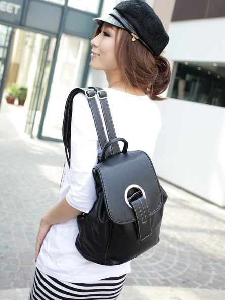 Leather New desig Black backpack