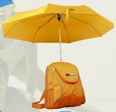 Orange Simple 420D polyster backpack With umbrell