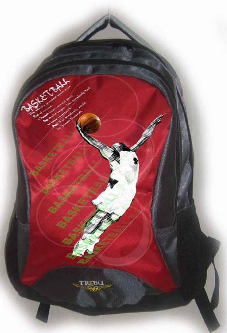 Red polyester sport backpack