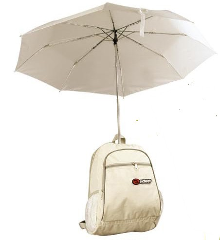 White Simple backpack  With umbrella