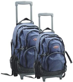 simple trolley backpack in blue