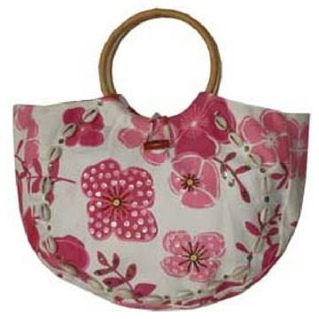 Flower Jute lady beach bag