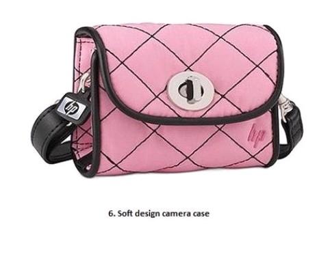 Pink Polyster Camera Bag