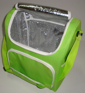 Green tinfoil lining cooler bag With Long Strap