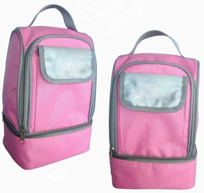 Simple Pink cooler bag  With long Strap