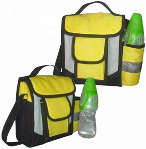 Yellow  cooler bag  With bottle pocket
