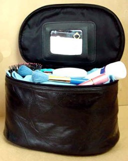 Black Leather  Beauty  Cosmetic bag