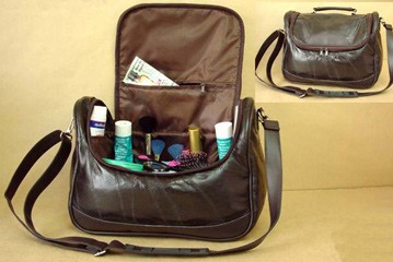 Black Leather  Beauty  Cosmetic bag With Long Stra