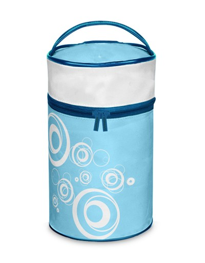 Blue Polyster Round Shape Cosmetic bag