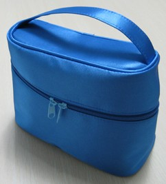 Blue leather Cosmetic bag