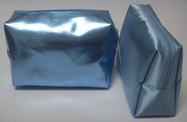 Sliver Shining Leather  Beauty  Cosmetic bag