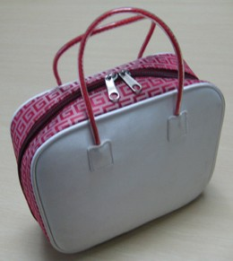 White leather Cosmetic bag