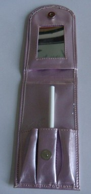 purple Leather  Beauty  Cosmetic bag