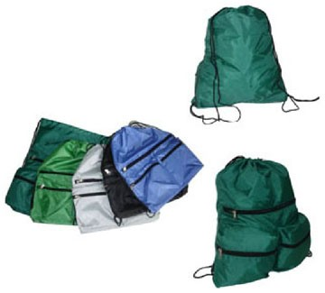Green Polyster drawstring backpack