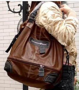 Brown leather Fashion Beauty handbag