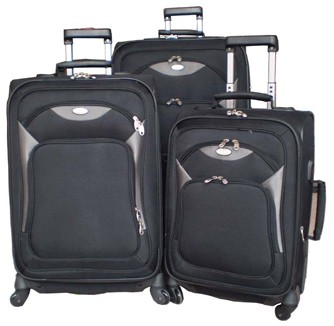 Polyster Soft Black Luggage bag