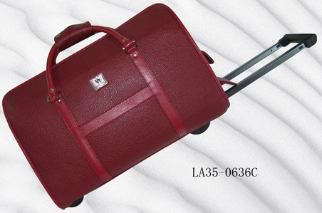 Quality Red Leather  Trolly bag