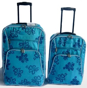 Quality Soft  Blue Polyster Leather  Trolly bag