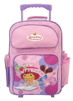 Pink Student School Book Bag With Trolly