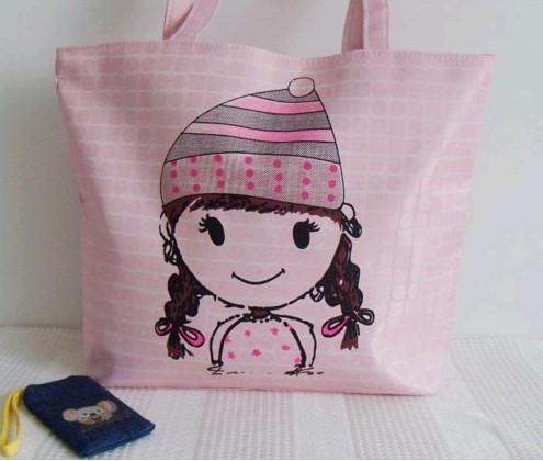 Fashion Pink Cartoon Cotton  Shopping bag
