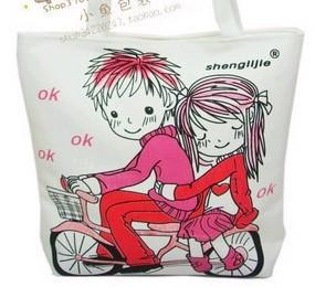 Fashion Wihte Cartoon Cotton  Shopping bag