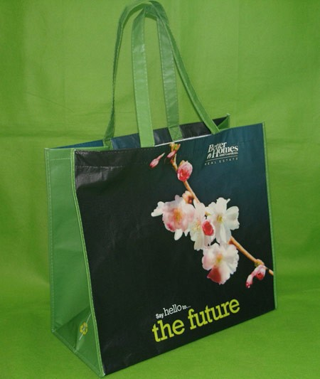 Green Flower Non-woven bag With Lamation