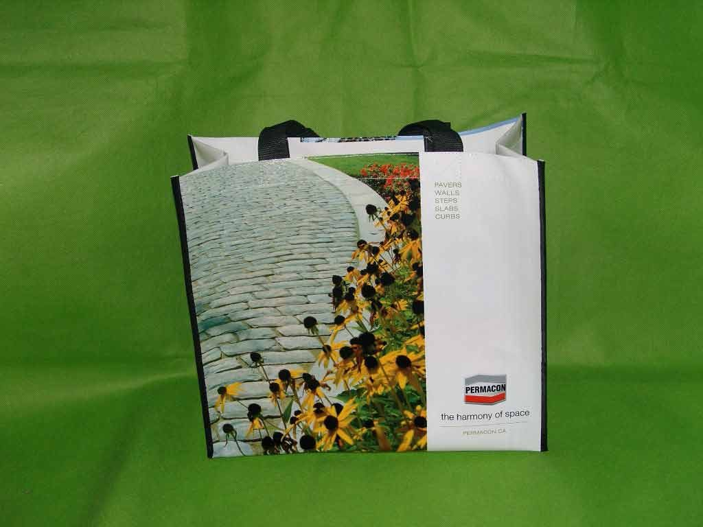 Green pp woven gift bag with laminating