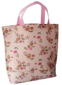 Pink  Flower Non Woven Shopping bag