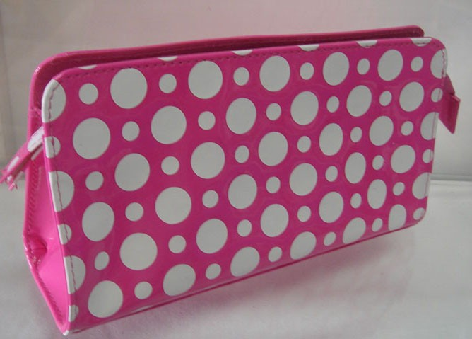 Red PVC Cosmetic bag With Dots