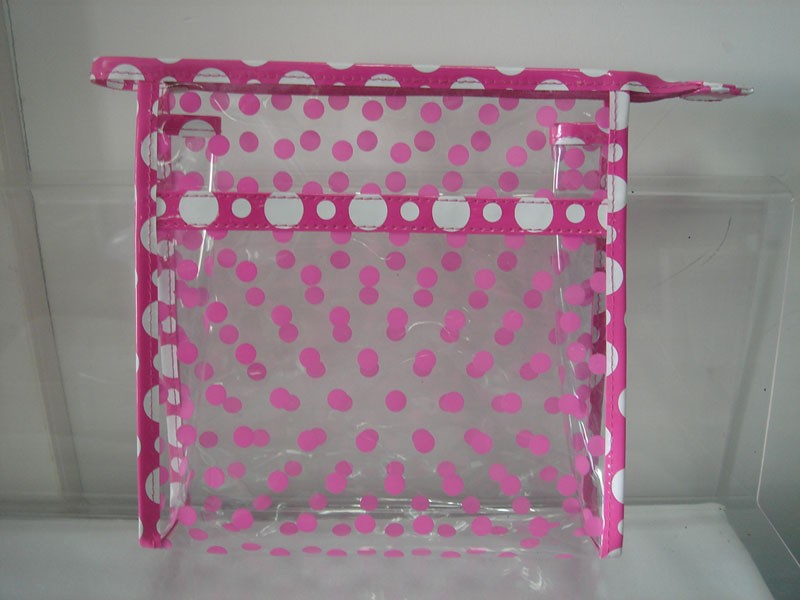 Red dots Clear PVC Toliet Bag