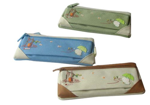 Green Polyster  pencil bag