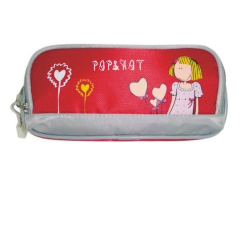 Red kids cartoon pencil case