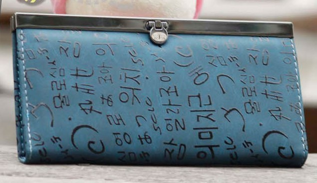 Fashion blue PU Wallet bag